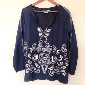 Boden Embroidered Peasant Blouse
